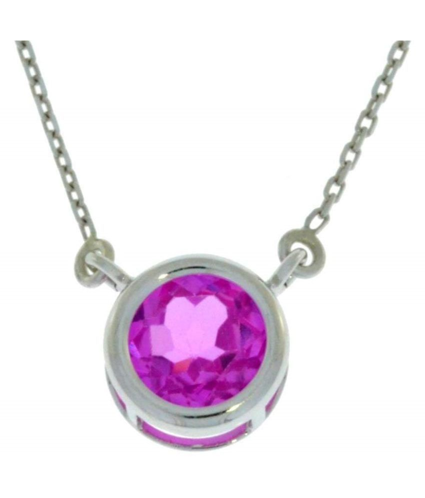 Pink Sapphire Pendant in 2.5 carat sterling silver by  Kundli Gems