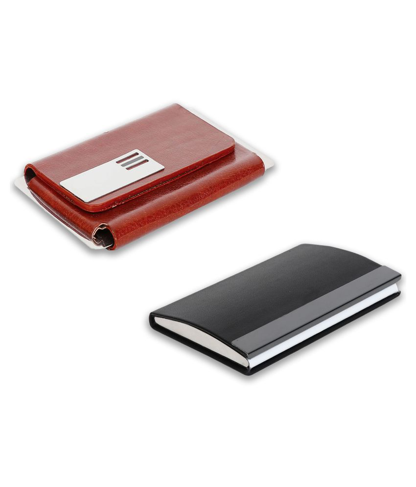 auteur A14-15  Multicolor Artificial Leather Professional Looking Visiting Card Holders for Men and Women Set of 2 (upto 15 Cards Capacity)