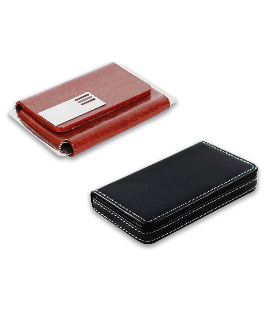 auteur A14-51  Multicolor Artificial Leather Professional Looking Visiting Card Holders for Men and Women Set of 2 (upto 15 Cards Capacity)