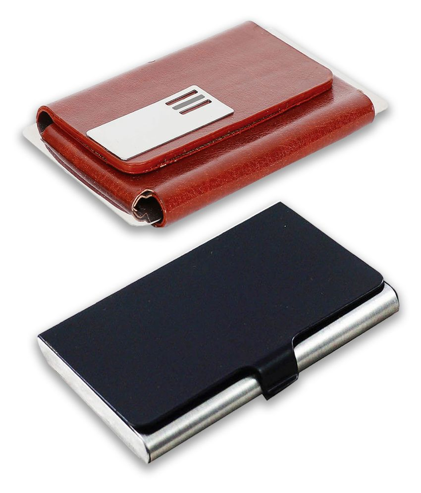 auteur A14-57  Multicolor Artificial Leather Professional Looking Visiting Card Holders for Men and Women Set of 2 (upto 15 Cards Capacity)