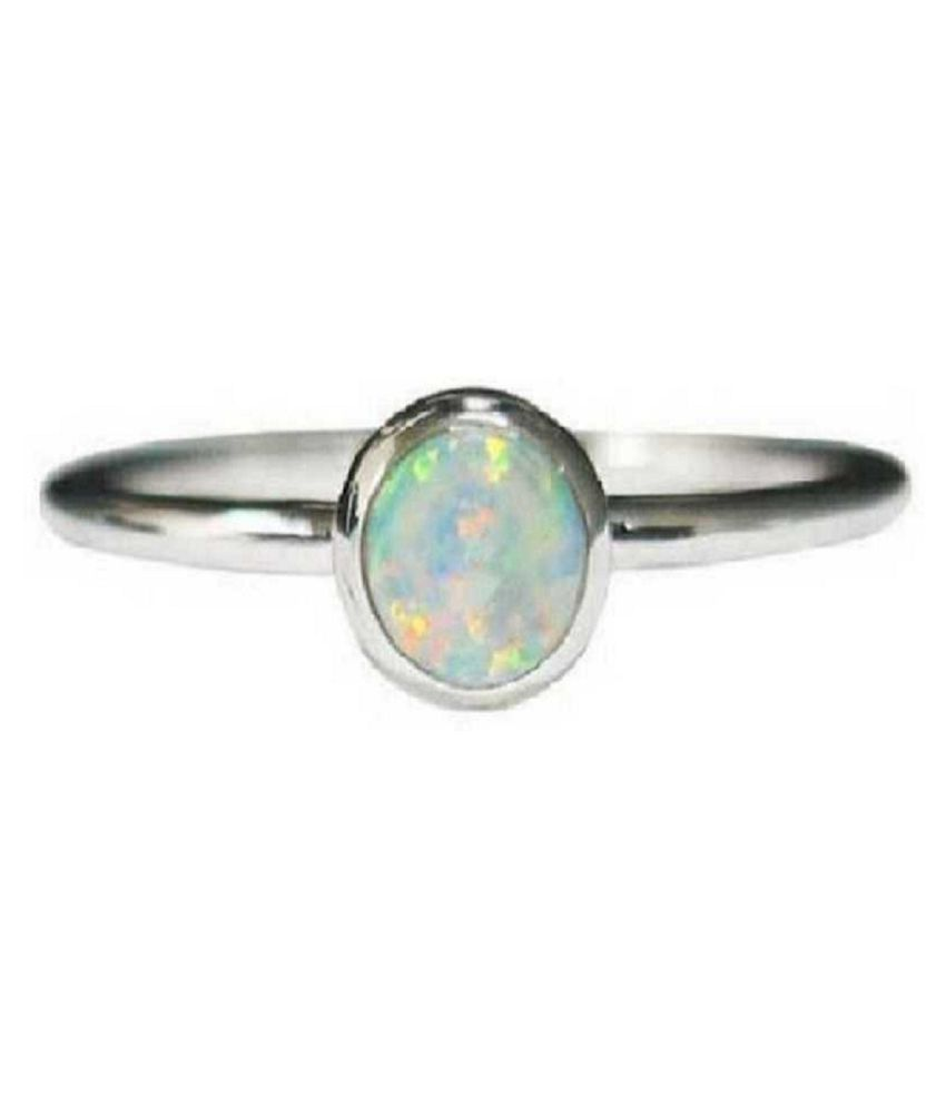 6.25 ratti stone pure OPAL  silver Ring for unisex by Ratan Bazaar\n
