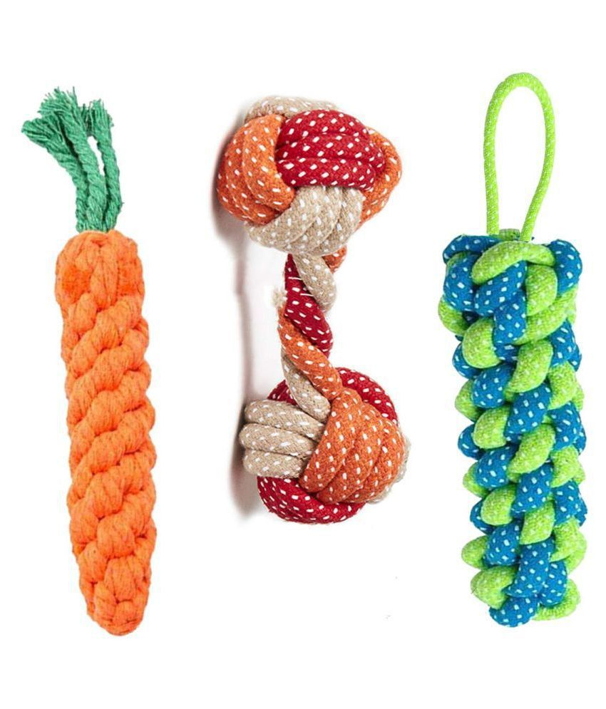 KOKIWOOWOO Rope Toys for Dogs, Puppy Chew Teething Rope Toys Durable Cotton Dog Toys for Playing and Teeth Cleaning Training Toy Set of 3