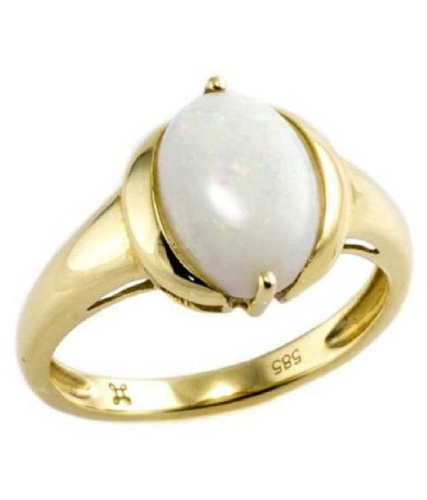 Original Certified Stone 6 Carat OPAL Gold Plated Ring By Ratan Bazaar