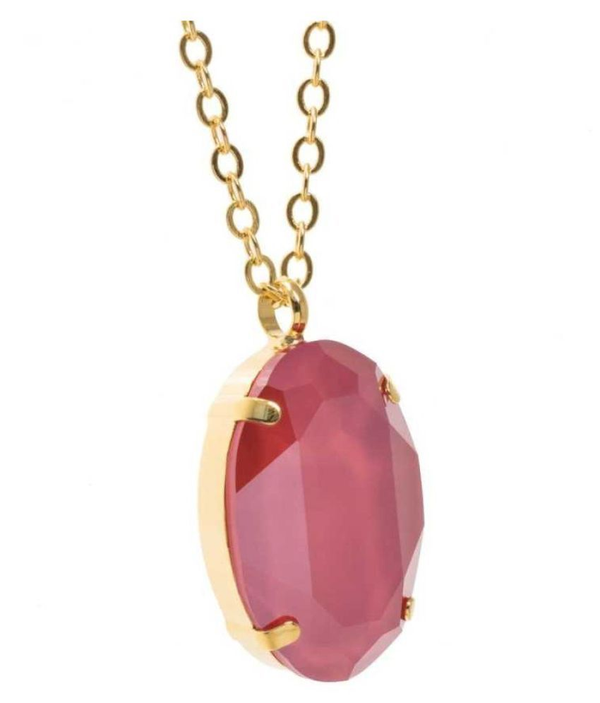 Natural & Unheated Stone Pink Sapphire Stone 6.25 Ratti Gold Plated Pendant by Kundli Gems