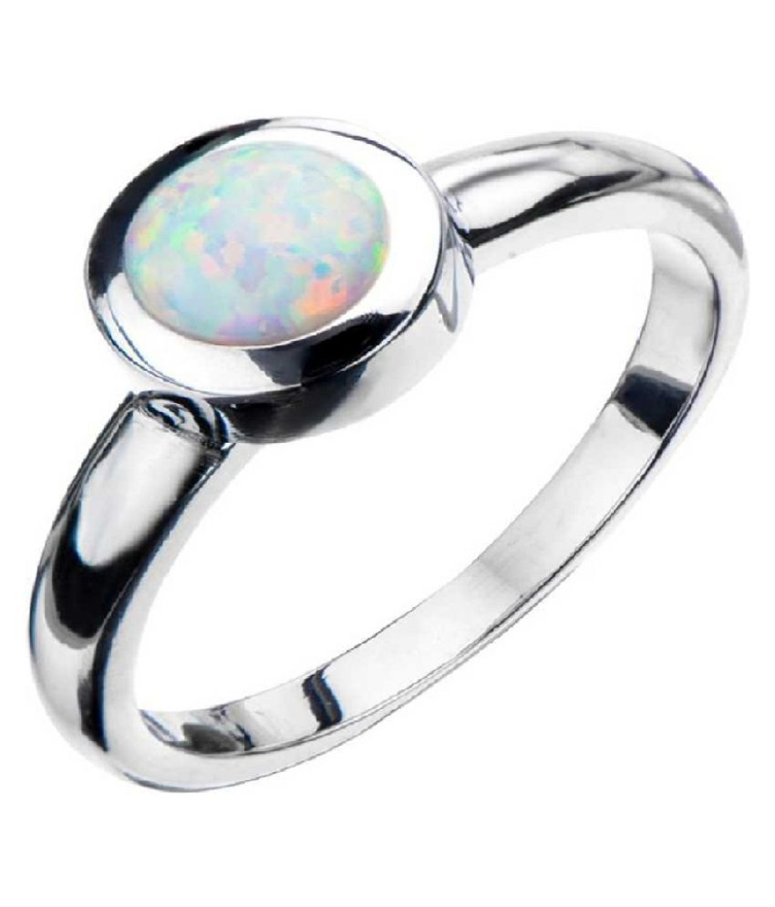 12.5 ratti Natural  OPAL  Stone Adjustable  silver Ring for Astrological OPAL  Ring by Ratan Bazaar