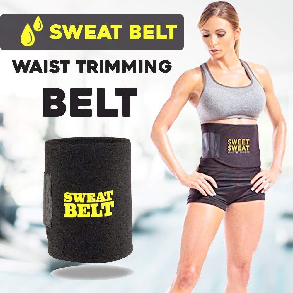 Karoly hot shaper Waist Trimmer Black Exercise Body Slimming Belt Free Size Sweat Slim Belt Adjustable Sauna Belt