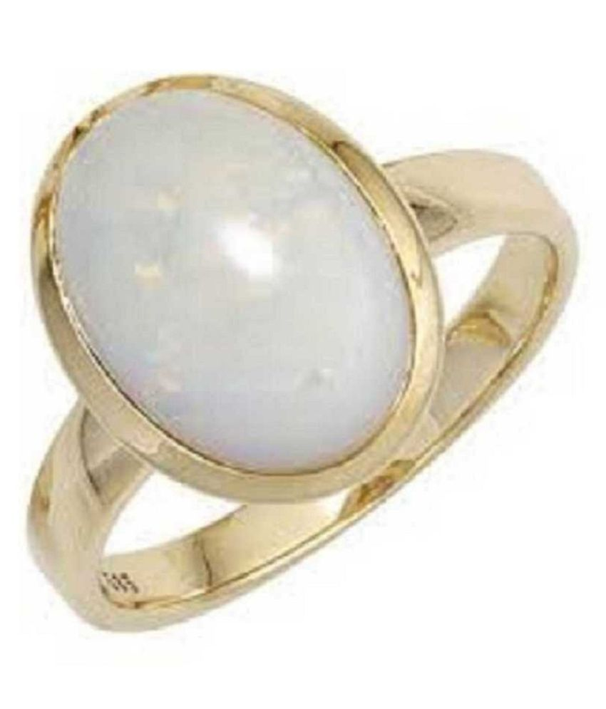 Natural OPAL Stone Lab Certified Gold Plated 11 Carat Adjustable Ring BY Ratan Bazaar