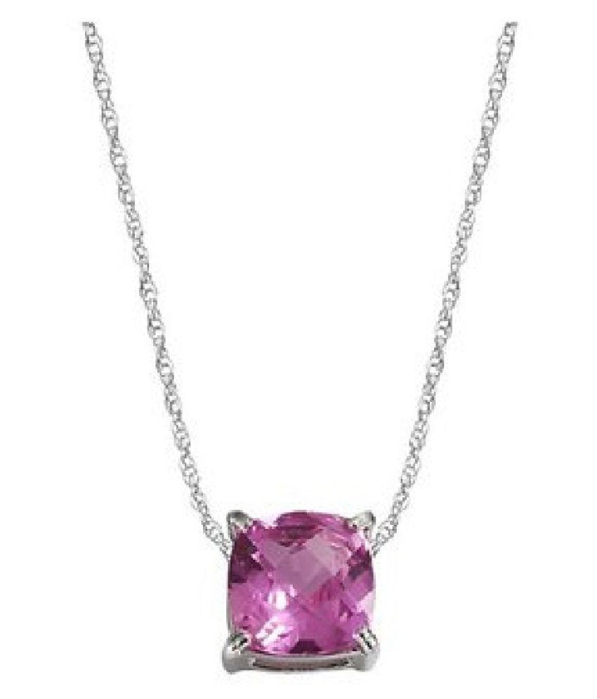 Pink Sapphire Stone 8 Ratti Lab Certified Punchdhatu Gold Plated Pendant By Kundli Gems