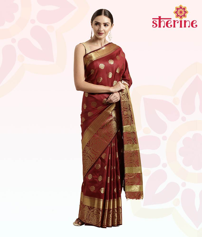 Sherine Maroon Jacquard Saree with Blouse Piece