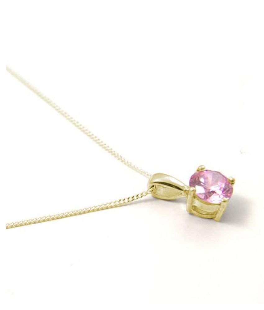 12 Ratti Pink Sapphire  pure Gold Plated Pendant for Unisex by  Kundli Gems\n