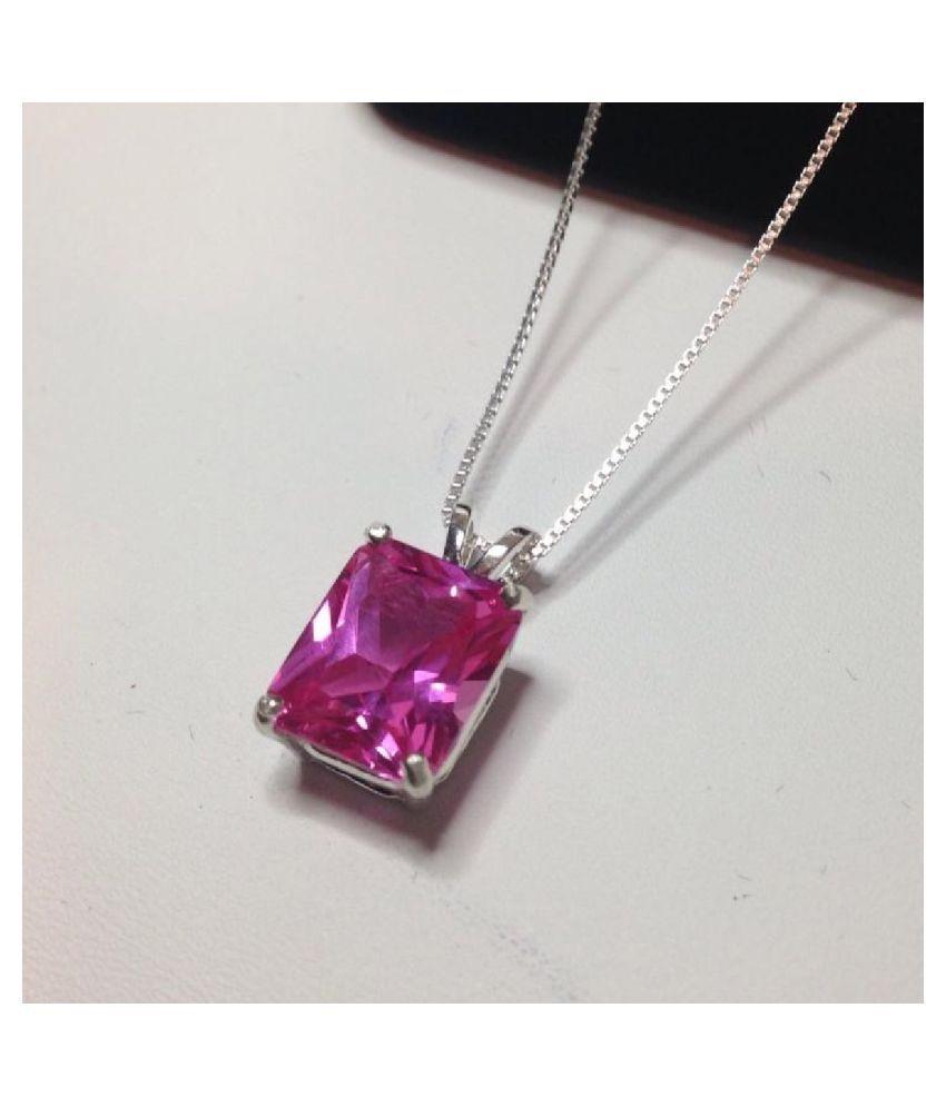 9.5 Ratti silver Pink Sapphire  Stone Pendant by Kundli Gems