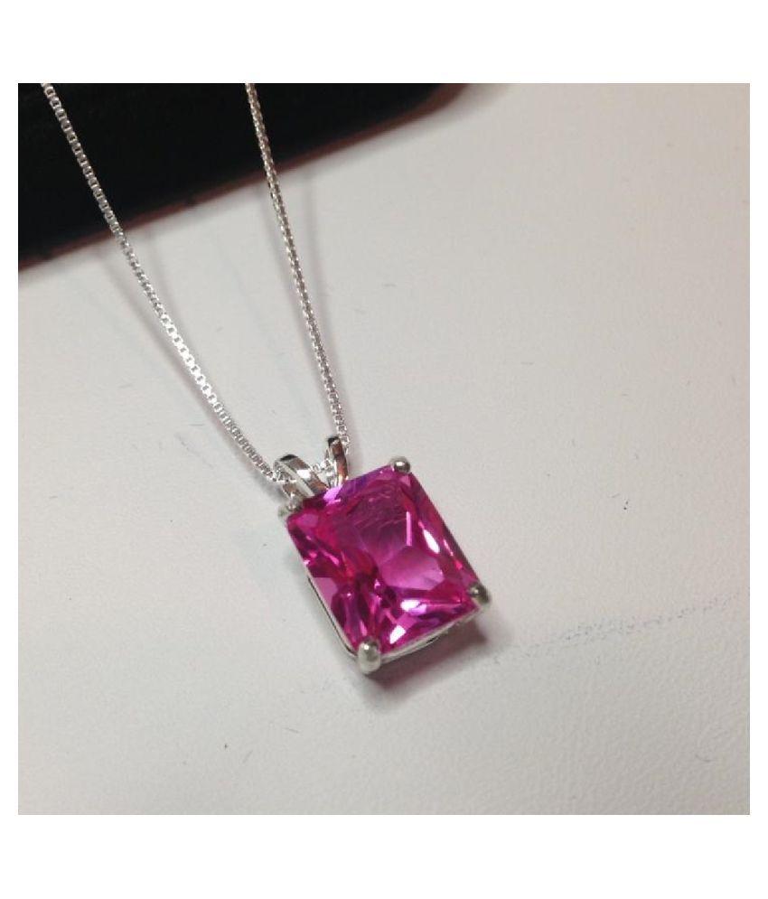 Certified 12.5 Carat silver Pink Sapphire  Pendant by Kundli Gems