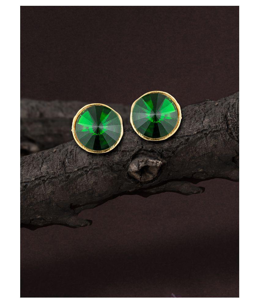 E2O Self Design Olive Colour Pearl Stud Earring