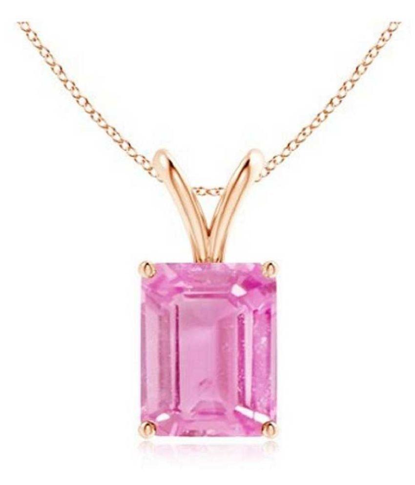 Original Pink Sapphire Stone Lab Certified Stone 10.5 Ratti Gold Plated Pendant by Kundli Gems