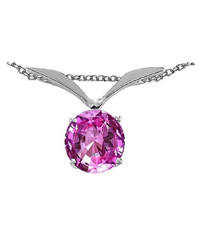 Pink Sapphire  Pendant 12.5 Ratti  Original Silver Pink Sapphire  Stone by  Kundli Gems