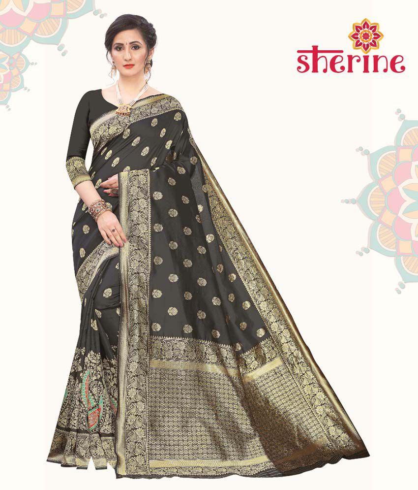 Sherine Black Jacquard Saree