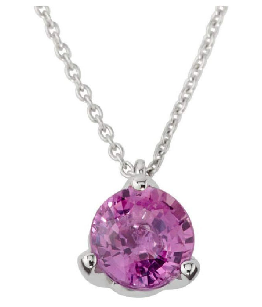 2.5 carat only Pink Sapphire  Pendant with Natural & Lab Certified Silver Pink Sapphire  by Ratan Bazaar