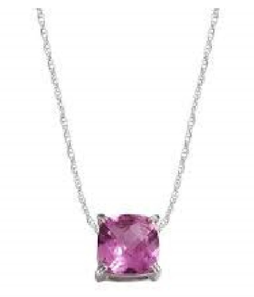6.25 Ratti Pink Sapphire  pure Silver Pendant for Unisex by  Ratan Bazaar\n