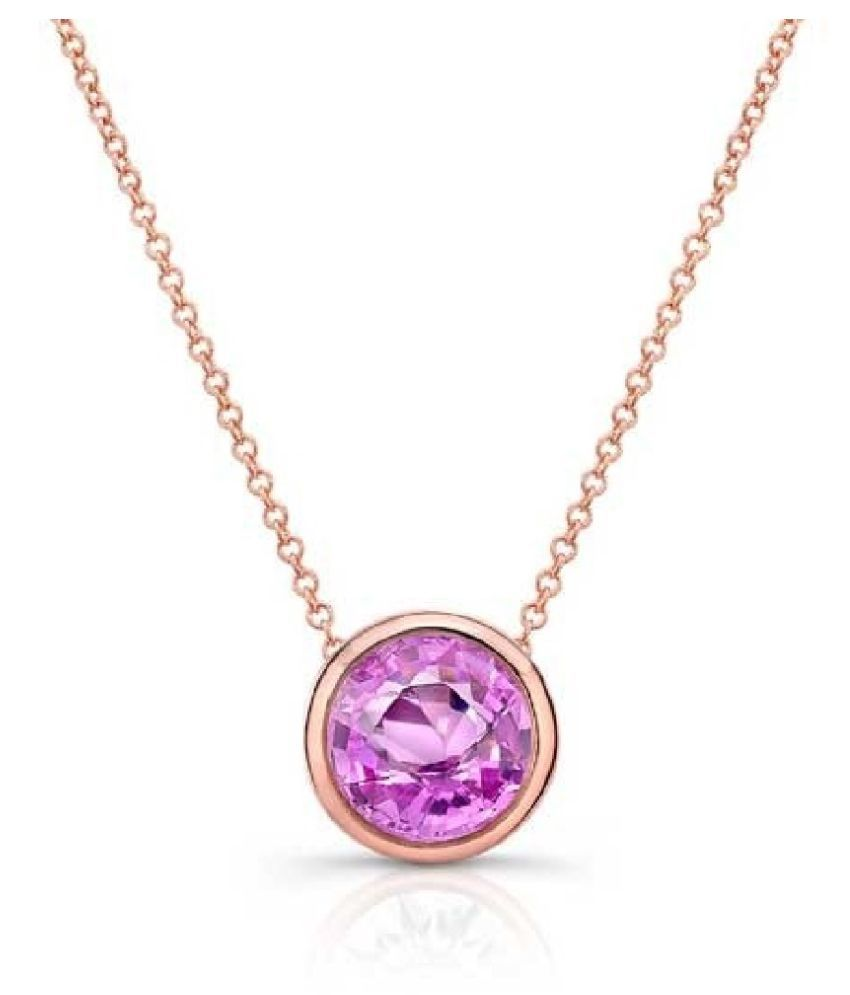 7.5 ratti stone pure Pink Sapphire  Gold Plated Pendant for unisex by   Ratan Bazaar\n