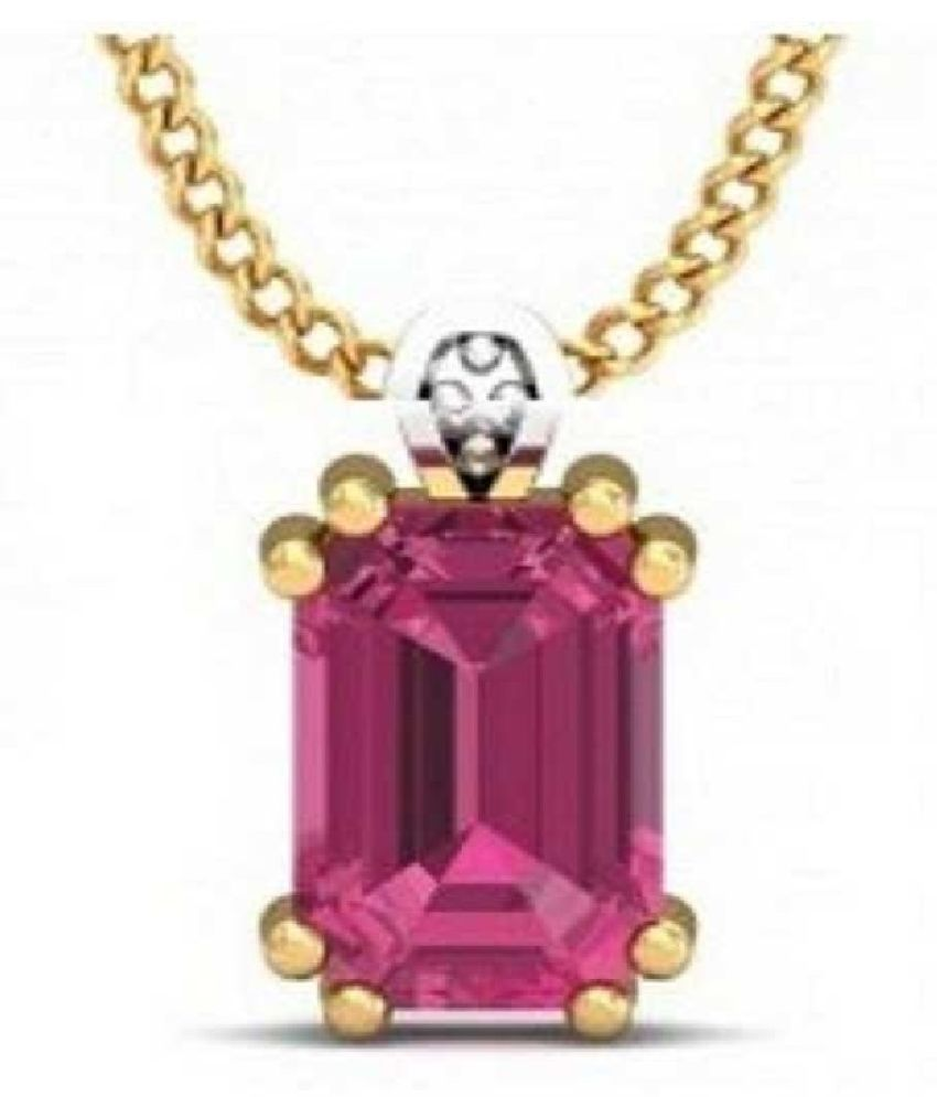 Natural & Unheated Stone 7 Ratti Pink Sapphire Gold Plated Pendant by  Ratan Bazaar