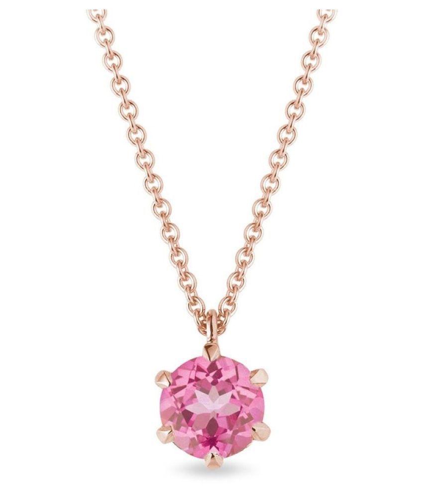 Pink Sapphire Pendant Natural Unheated Stone 5 Carat gold plated Pendant For Astrological PurposeBy Ratan Bazaar