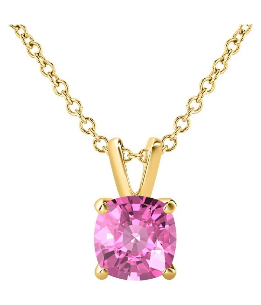 Pink Sapphire Pendant with 100% Original Lab Certified Stone 6.25 Ratti gold plated Pendant by Ratan Bazaar
