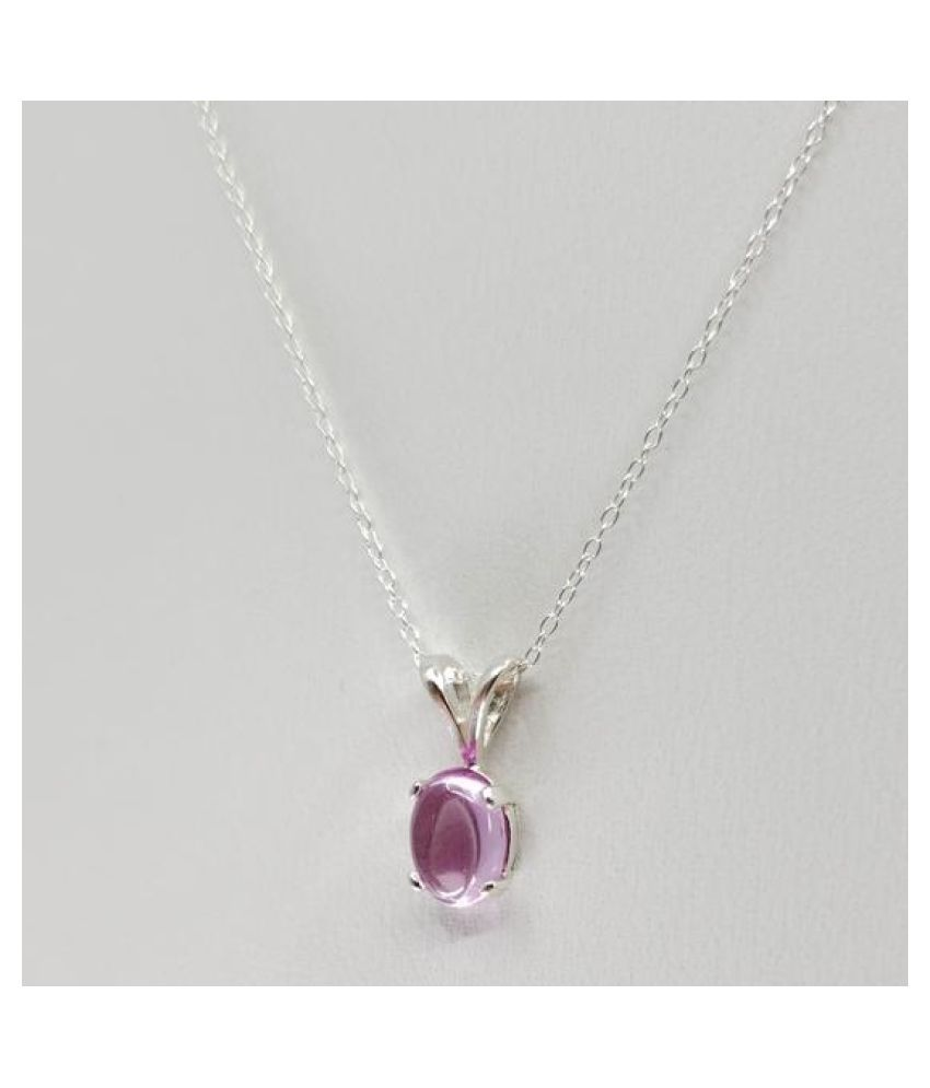 12.5 Ratti Pink Sapphire  Pendant with Natural silver Pink Sapphire  Stone by  Ratan Bazaar