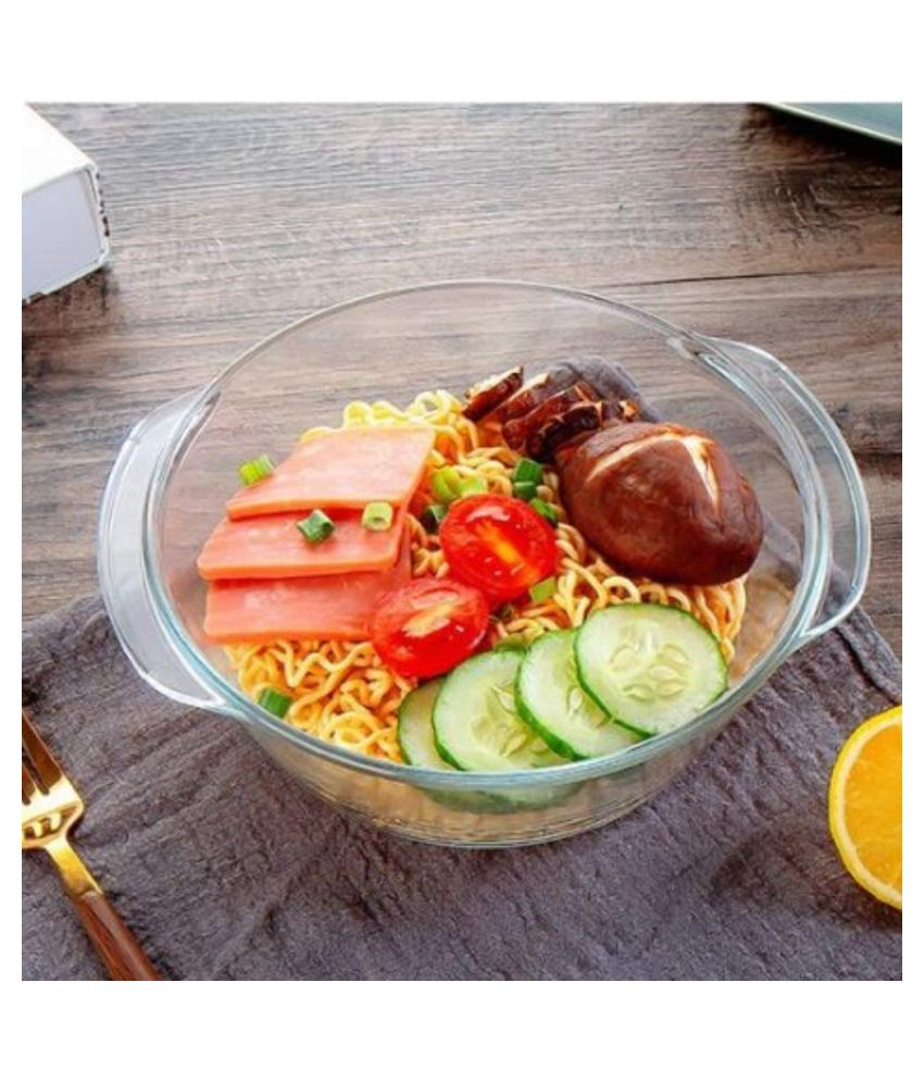 Femora Casserole Borosilicate Glass Microwave Safe Casserole for Roti Chapati Rice, Curry Serve   700 ml/gm