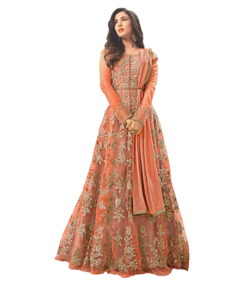 JOGMAYA FASHION Orange Net Anarkali Semi-Stitched Suit