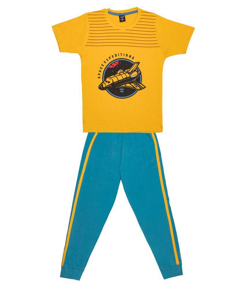 Todd N Teen Boys Cotton Casualwear, Nightwear, Loungewear With Full Pant 6 years (mustard)