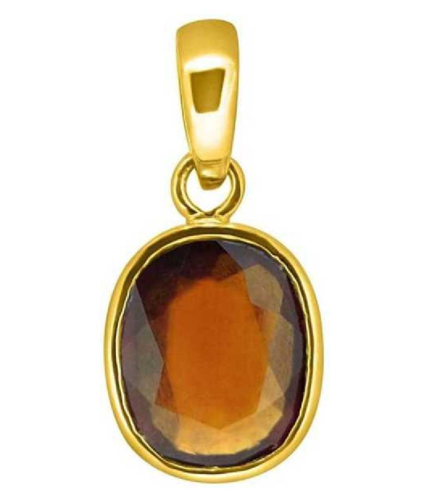10.25 Ratti Hessonite (Gomed) Gold Plated Pendant With Certified Astrological Stone by Ratan Bazaar