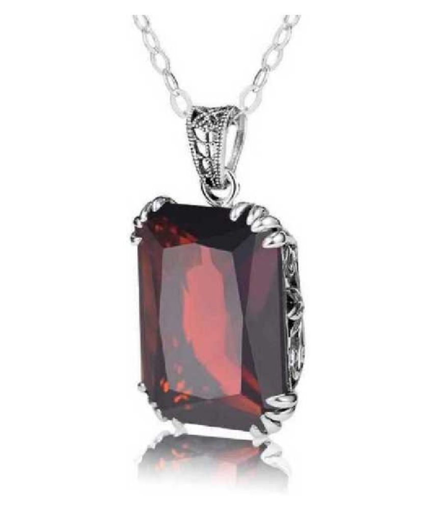 6.5 ratti natural Hessonite (Gomed)  Stone pure silver Pendant for unisex by Ratan Bazaar\n