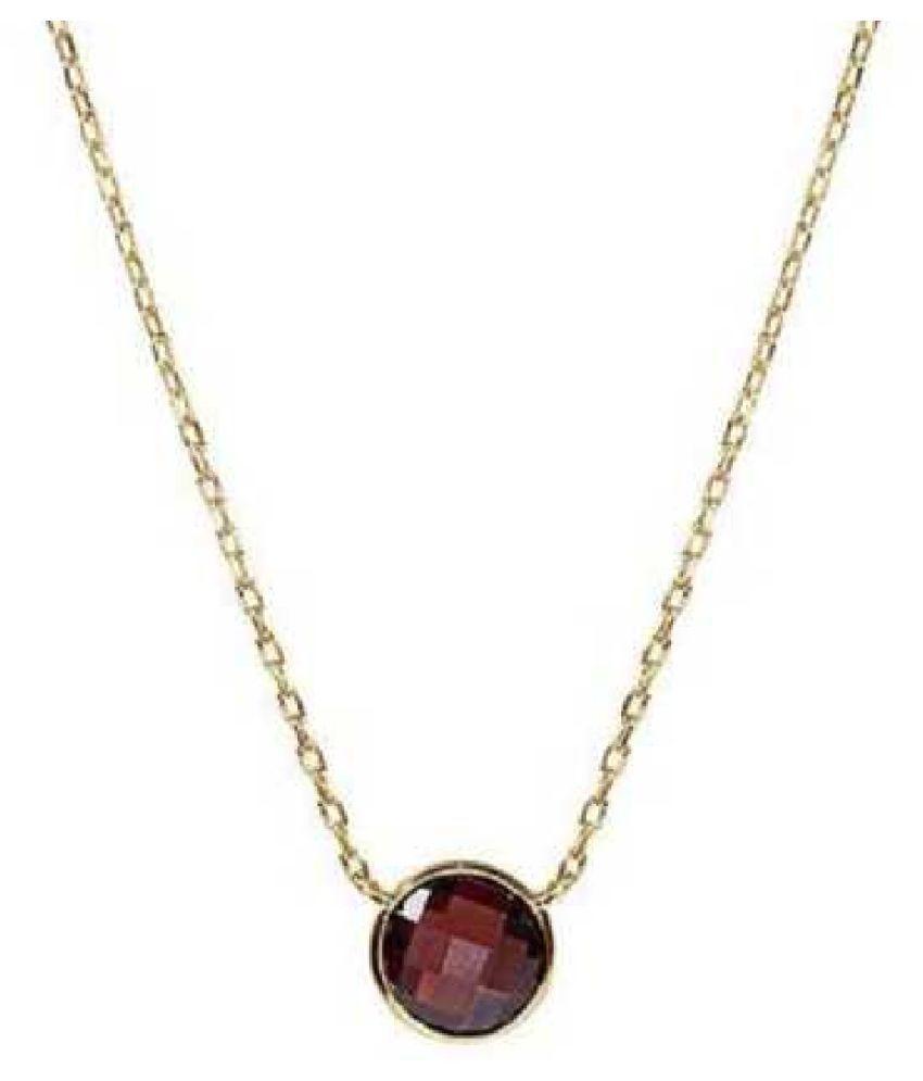 9 Carat 100 % Original Certified Stone Hessonite (Gomed) gold plated Pendant By Ratan Bazaar