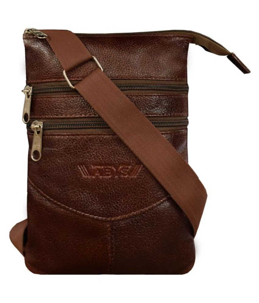 ABYS Brown Leather College Bag