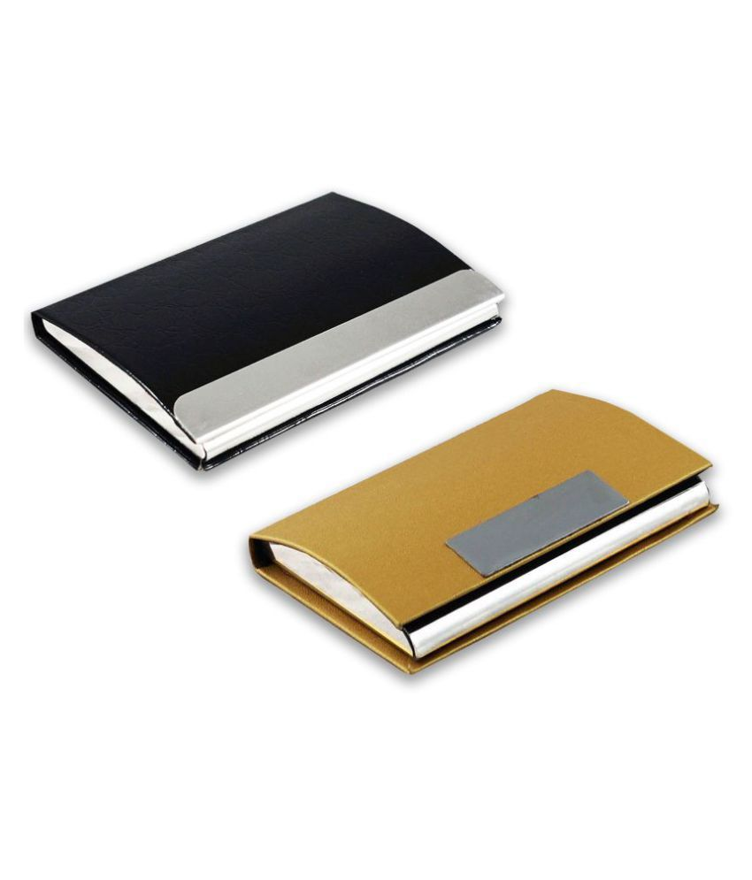 Auteur Multicolor Artificial Leather Professional Looking Debit/Credit/Business/Visiting Card Holders for Men and Women Set of 2 (upto 15 Cards Capacity)