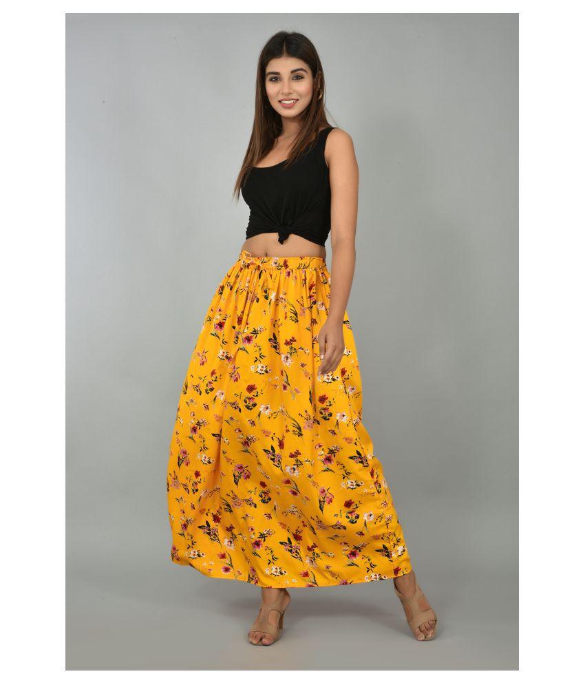 Girly Girls Crepe A-Line Skirt - Yellow