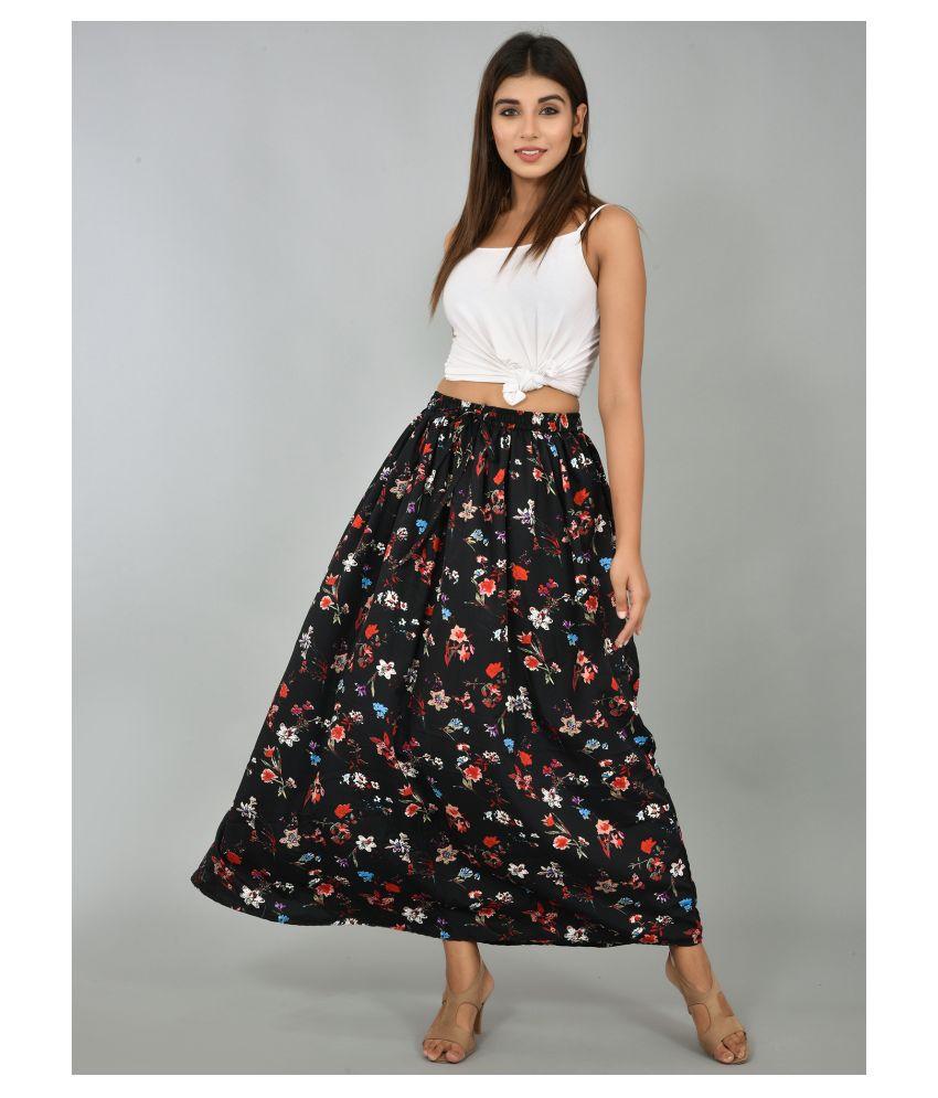 Girly Girls Crepe A-Line Skirt - Black