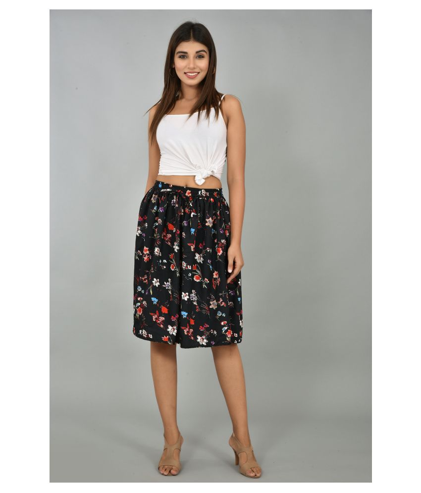 Girly Girls Crepe A-Line Skirt - Black