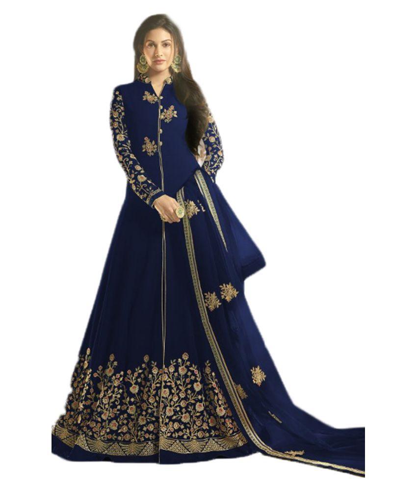 JOGMAYA FASHION Blue Georgette Anarkali Semi-Stitched Suit