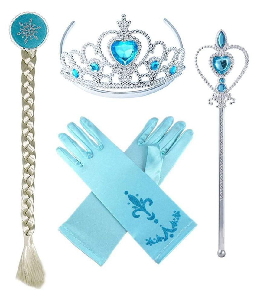 Kaku Fancy Dresses Fairytale Character Elsa Costume Accessories with Gloves - for Girls, Freesize Blue
