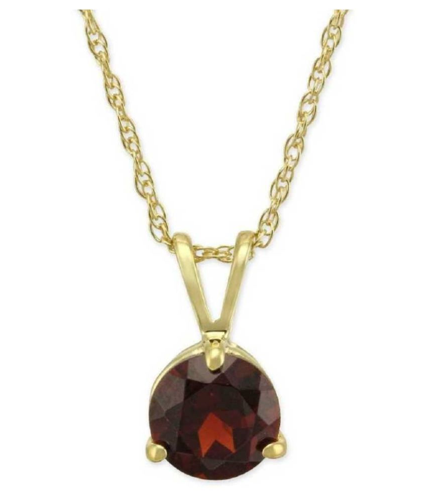 Natural Hessonite   Stone 7.25 Ratti 100 % Certified Gold Plated Pendant By Ratan Bazaar