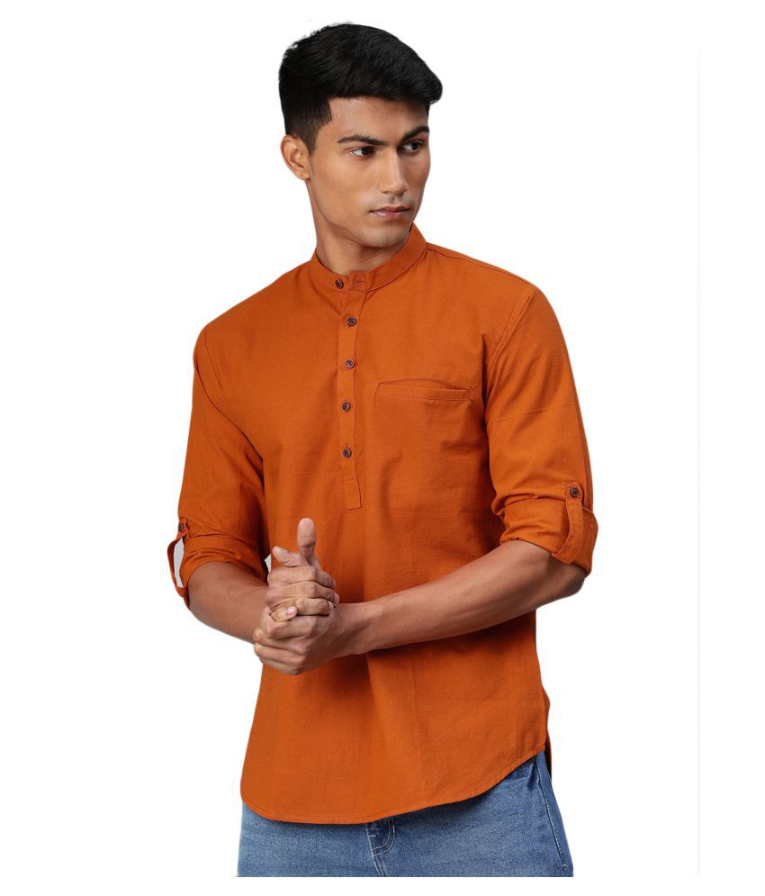 Salwar Studio Orange Cotton Kurta Single