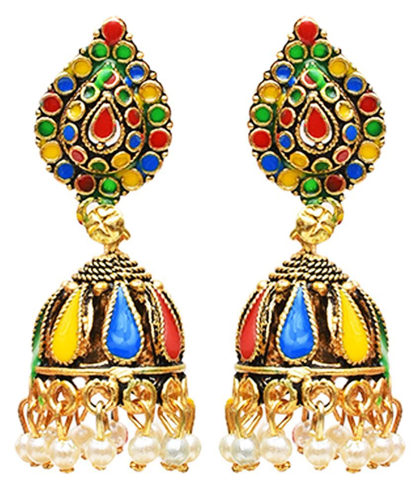 Sparkling Dazzle Metal Gold Plated and Moti Jhumki Earrings for Women & Girls