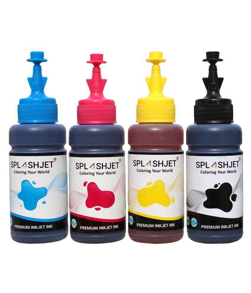 Splashjet T664 Refill Ink Set Multicolor Pack of 4 Ink bottle for Epson L130, L360, L380, L361, L310, L365, L350, L405, L455 Printers  C/M/Y/Bk   70g