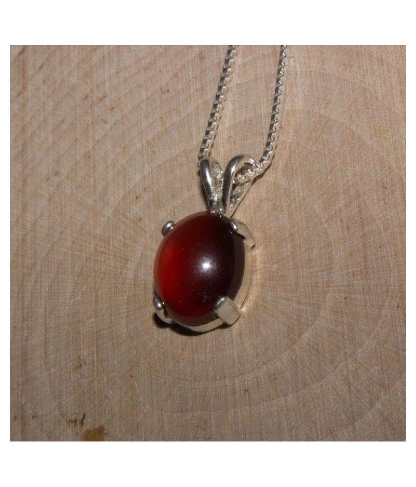 100% Original Hessonite (Gomed)  Unheated & Natural Hessonite (Gomed) / silver Pendant by KUNDLI GEMS