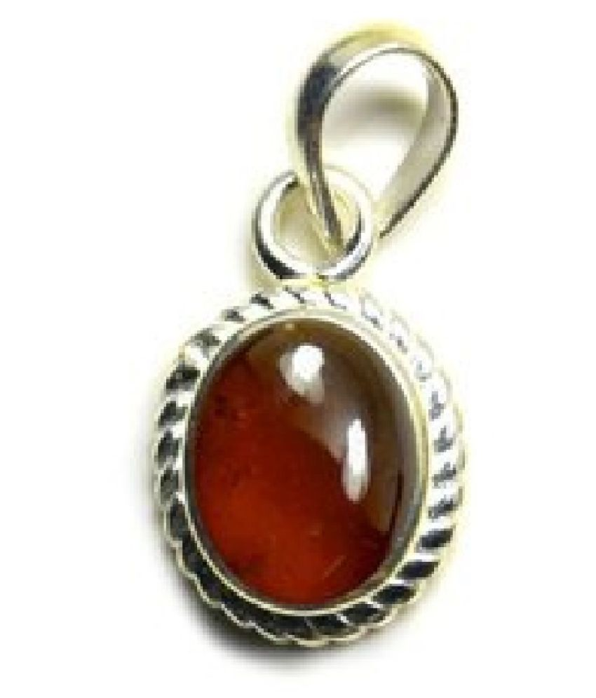5 ratti Natural Lab certified Stone silver Hessonite (Gomed)  Pendant by KUNDLI GEMS\n