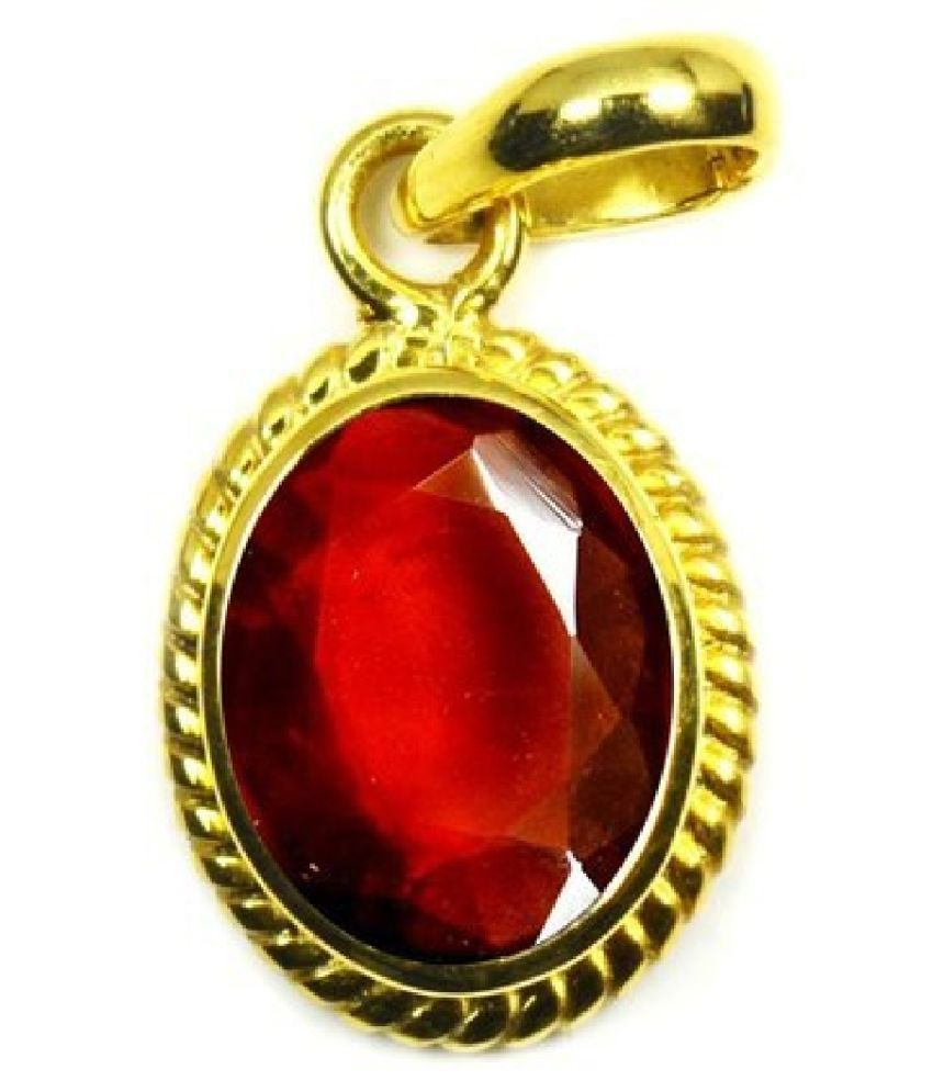 6.5 Carat Stone Hessonite (Gomed)  Gold Plated Pendant for unisex by KUNDLI GEMS\n