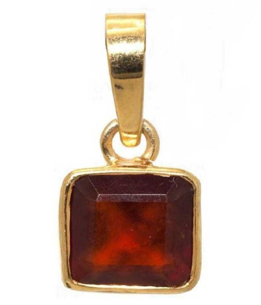 6 Ratti Lab Certified Stone 100% Original Hessonite (Gomed)  Gold Plated Pendant for unisex by KUNDLI GEMS\n