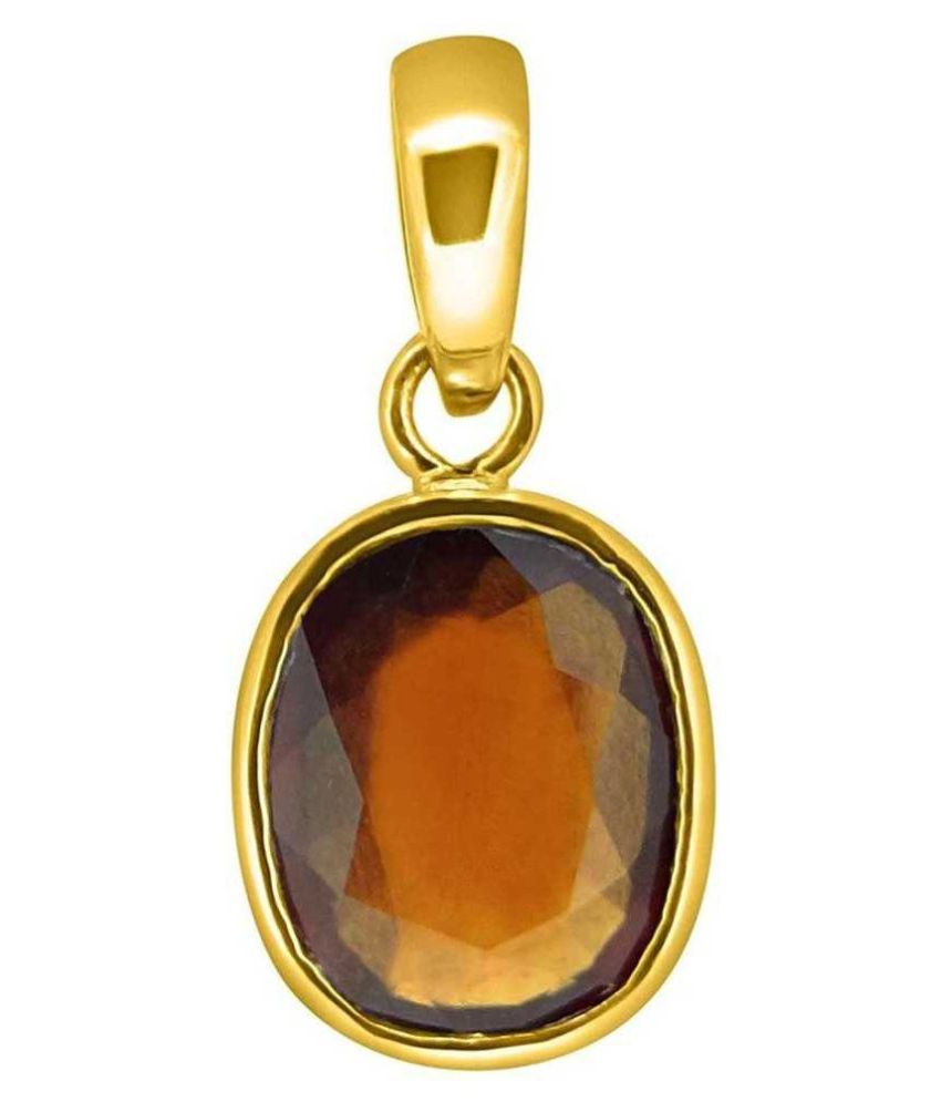 Natural and Precious Hessonite (Gomed) Gemstone 5.25 Ratti Certified  Gold Plated Pendant By KUNDLI GEMS