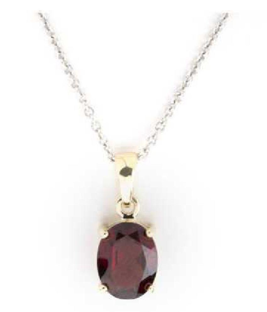 Silver Hessonite (Gomed)  Stone Pendant 6.5 carat by  KUNDLI GEMS